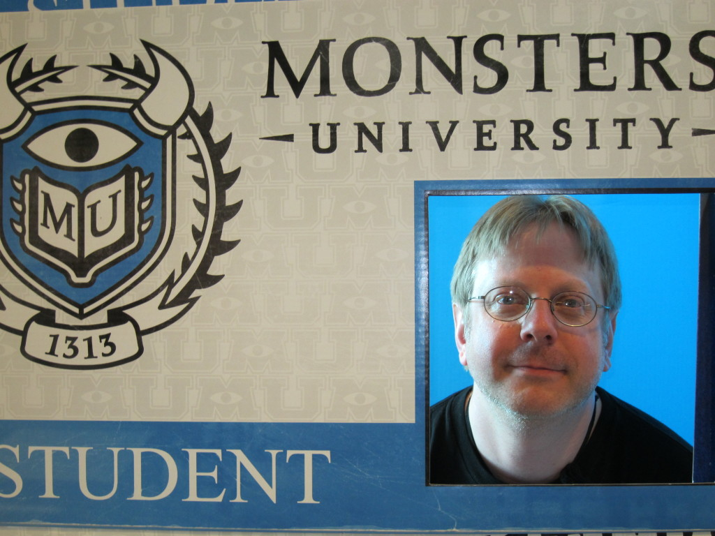 John Horrordude Ginder on his Monsters University ID Card