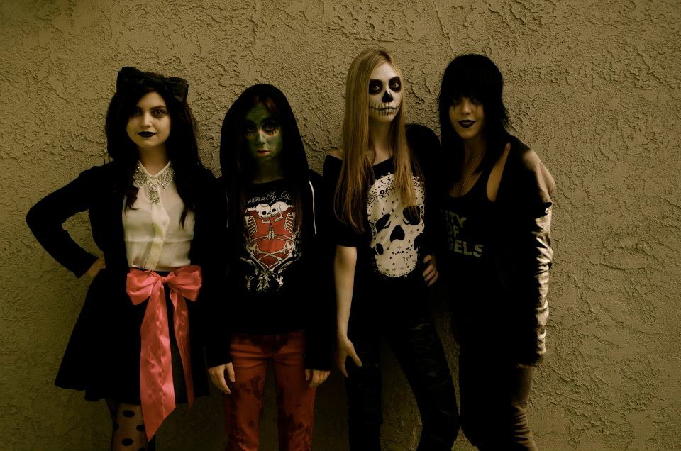 From left to right - a banshee (Sorsha Morava), a goblin (Allisyn Ashley Arm), a little reaper (Athena Baumeister) and another banshee (Katy Townsend).