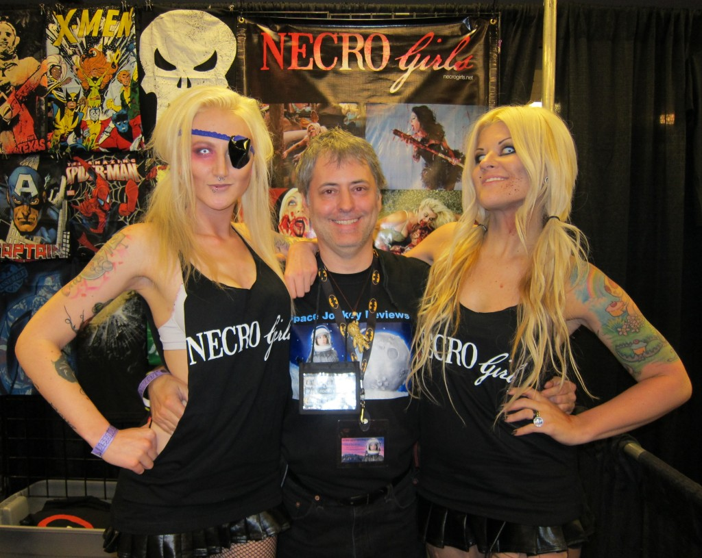 Space Jockey Reviews Editor in Chief Chris Rennirt with the Necro Girls at Fandom Fest 2013