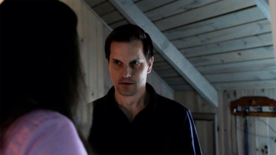 Good guy Jason Vail (as John), looking ominous in The Cabin
